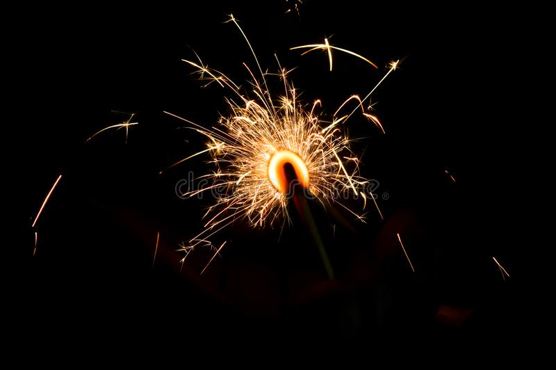 Festival Fireworks on Black backgrounds,yellow type Firework,beautiful fireworks and black background royalty free stock photos