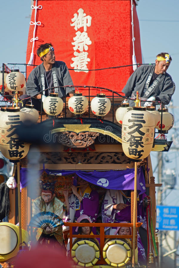 Festival float during kawagoe festival 2014. With performances,flute,drums,handbells,mask and dancing. This japanese event attracts large numbers of visitors royalty free stock images