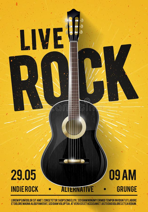 Vector Illustration Beautiful Live Classic Rock Music Poster template. For Concert Promotion in Clubs, Bars, Pubs and Public Place royalty free illustration