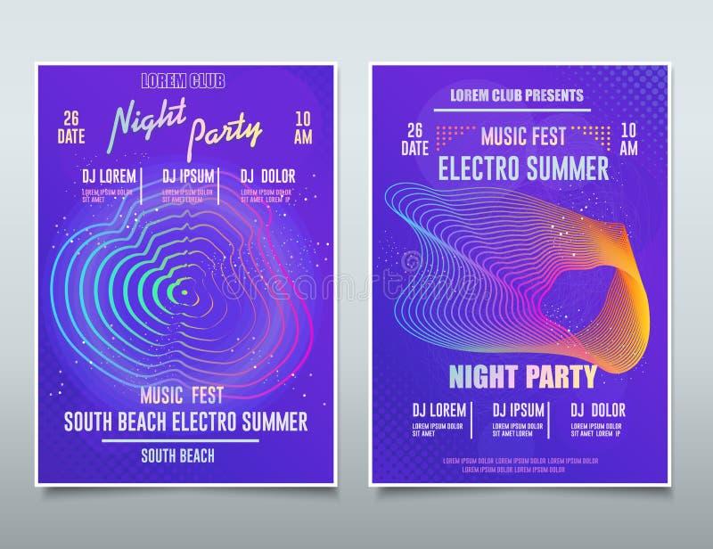 Festival Flyer Electronic Music, Sound Event, postagem musical abstrata do DJ Party, Fundo de Tecnologia Vetor ilustração do vetor