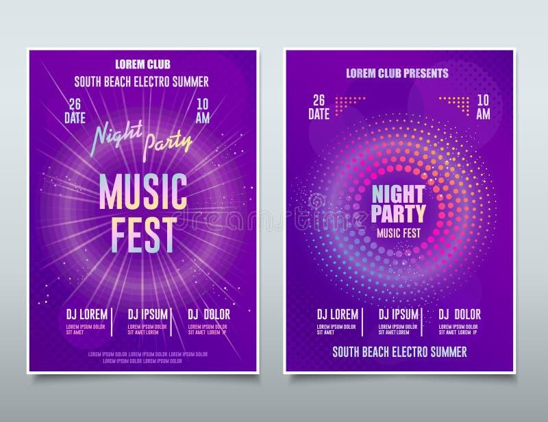 Festival Flyer Electronic Music, Sound Event, postagem musical abstrata do DJ Party, Fundo de Tecnologia Vetor ilustração royalty free