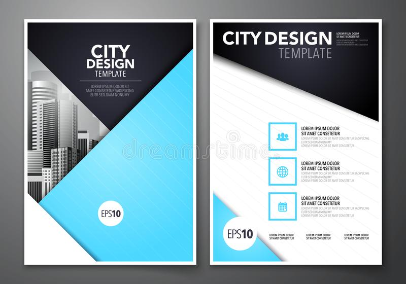 Vector illustration set of minimal simple business brochure flyer design a4 template background for annual report, book cover, bro royalty free illustration