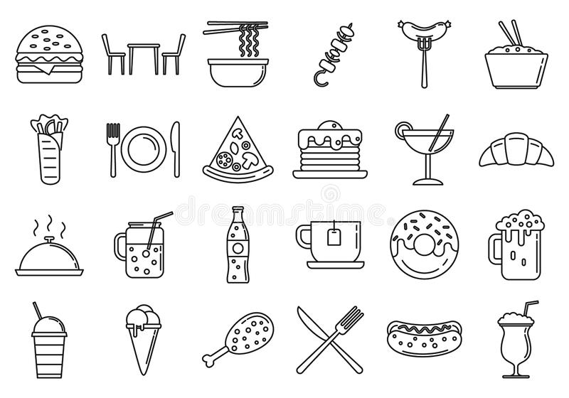 Festival Food Courts Icons set, Umriss Stil vektor abbildung