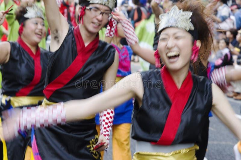 Festival fun. Smiling people at 62nd Nagoya Matsuri Festival, Japan royalty free stock images