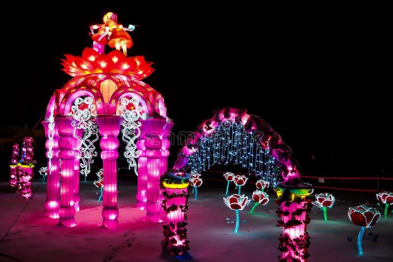 Festival of giant light figures stock photography