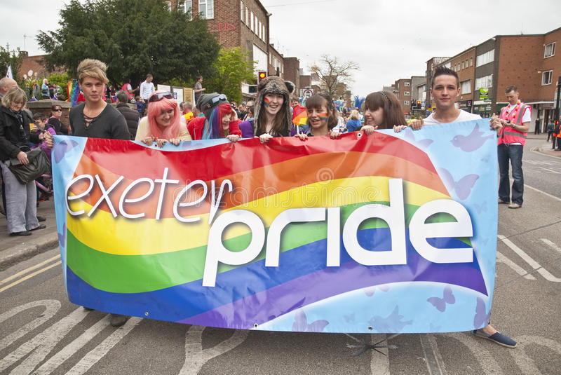 Download Festival Goers Hold Up The Exeter Pride Banner Editorial Image - Image: 24138485