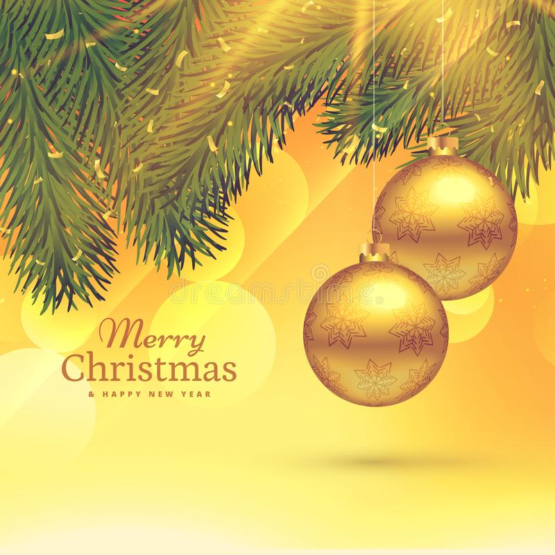 Festival greeting card template design with hanging golden chris. Tmas balls vector illustration