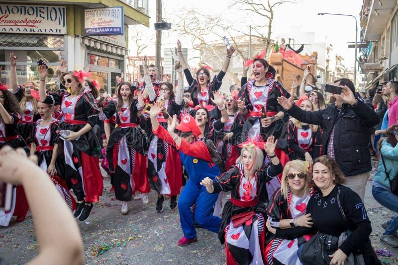 Festival grego em Xanthi, momento do disfarce fotografia de stock