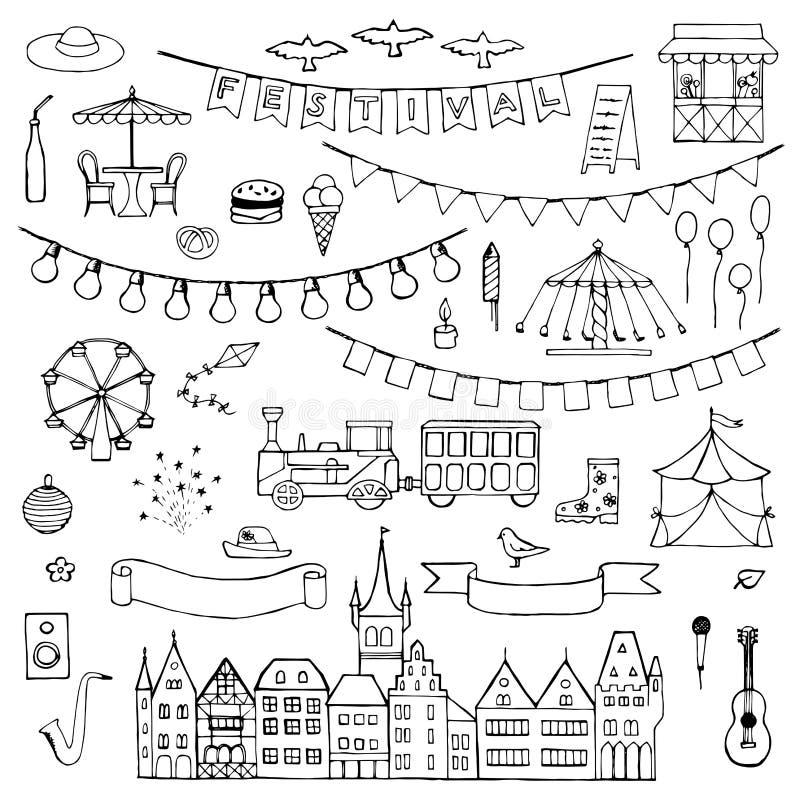 Festival hand drawn doodle set vector illustration