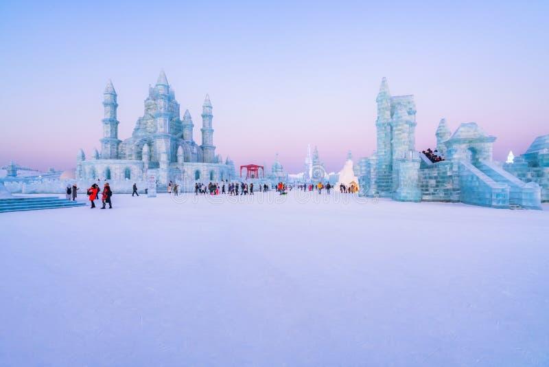 Festival 2019, Harbin, Heilongjiang, Chine de glace et du monde de neige photographie stock libre de droits