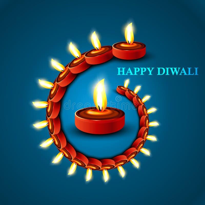 Festival hindú colorido azul del diya elegante feliz hermoso del diwali libre illustration