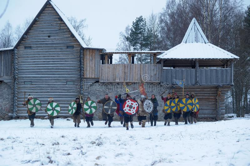 The festival is a historical reconstruction of the Viking Age in stock photo