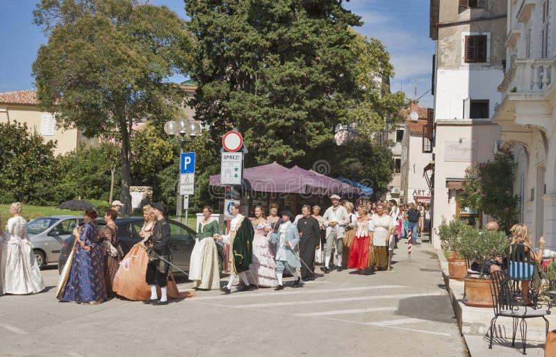 Festival historique Giostra dans Porec, Croatie photo stock