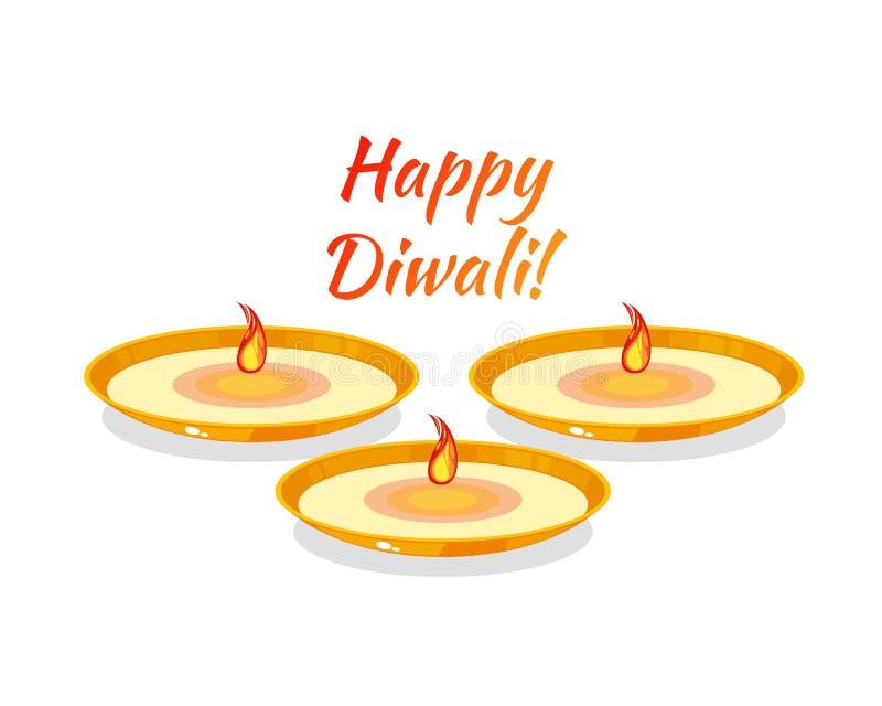 Festival indio de Diwali e hindú tradicional feliz, Deepawali ligero stock de ilustración