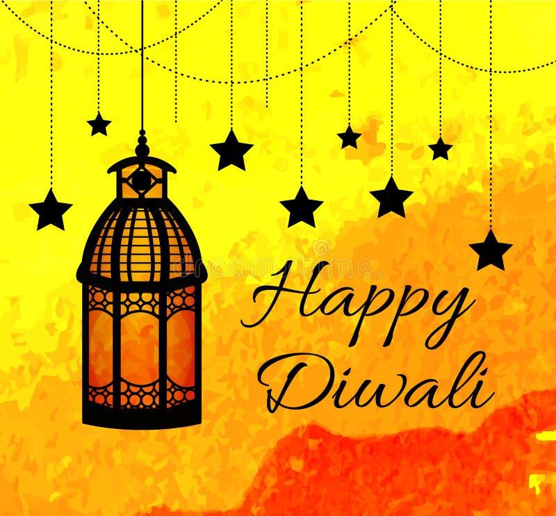 Festival indio feliz de Diwali de luces Tarjeta de felicitación de Diwali, invitación Ilustración del vector ilustración del vector