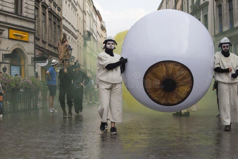 Festival internacional de los teatros ULICA de la calle en Cracow_Opening fotos de archivo libres de regalías