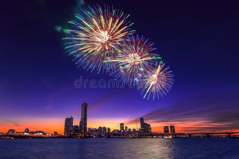Festival internacional dos fogos-de-artifício de Seoul imagens de stock
