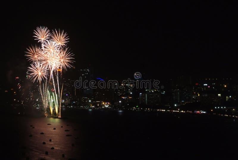 Festival internazionale dei fuochi d'artificio di Pattaya fotografia stock