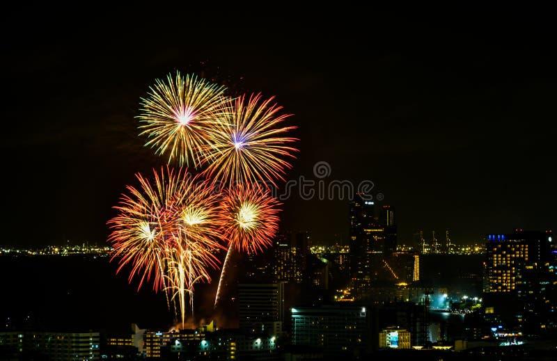 Festival internazionale 2018 dei fuochi d'artificio a Pattaya, Tailandia immagine stock