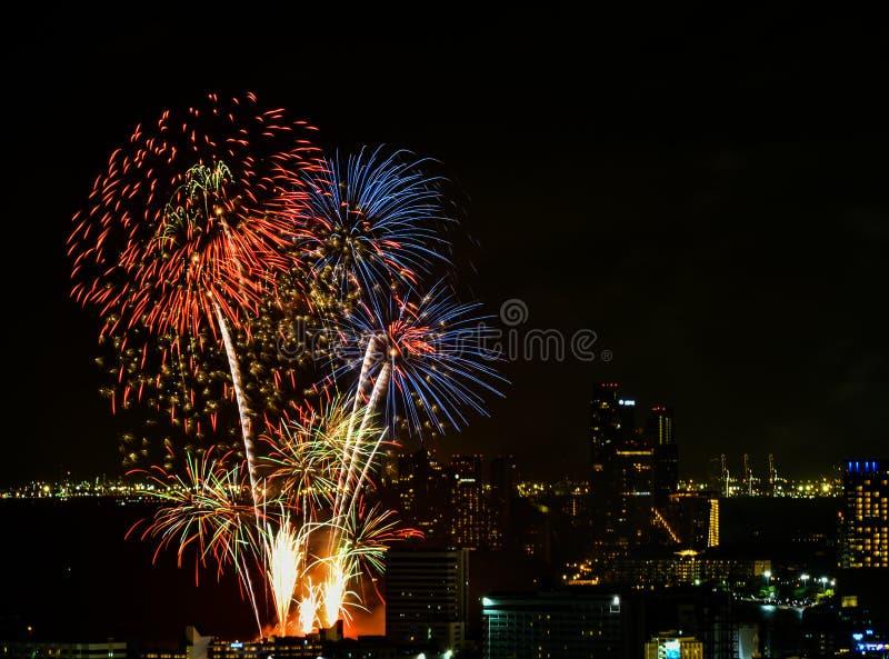 Festival internazionale 2018 dei fuochi d'artificio a Pattaya, Tailandia fotografia stock libera da diritti