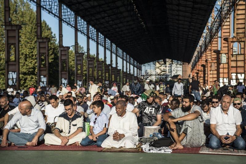 Festival islâmico do sacrifício em Turin, Itália imagens de stock