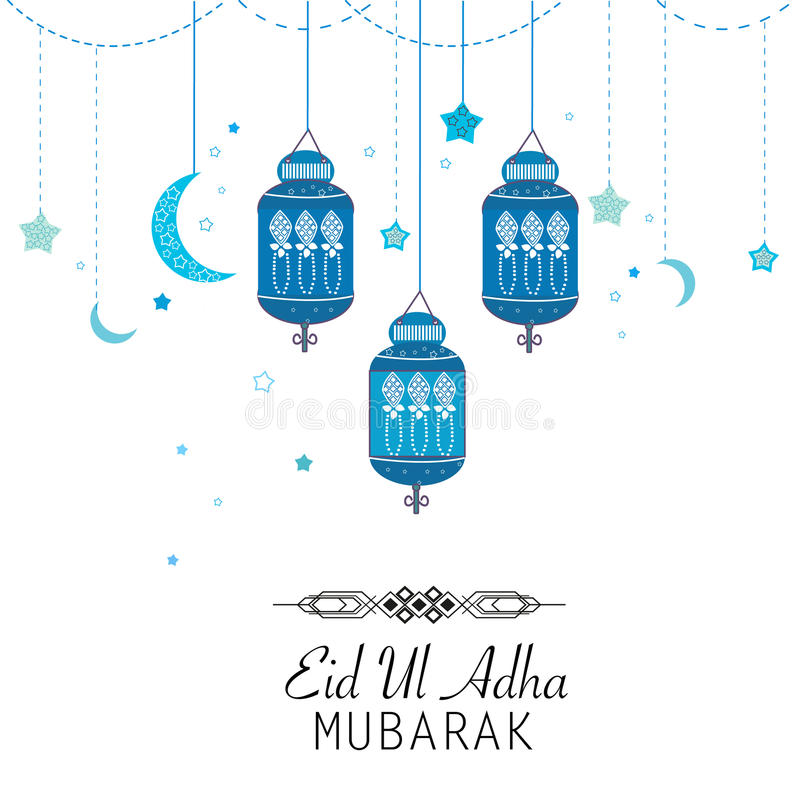 Festival islamico del sacrificio, cartolina d'auguri di celebrazione di Eid al-Adha illustrazione di stock