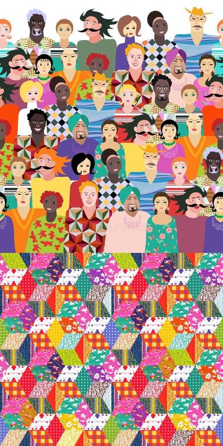 festival Kleurrijk eindeloos patroon met mensen van verschillende leeftijden, rassen vector illustratie