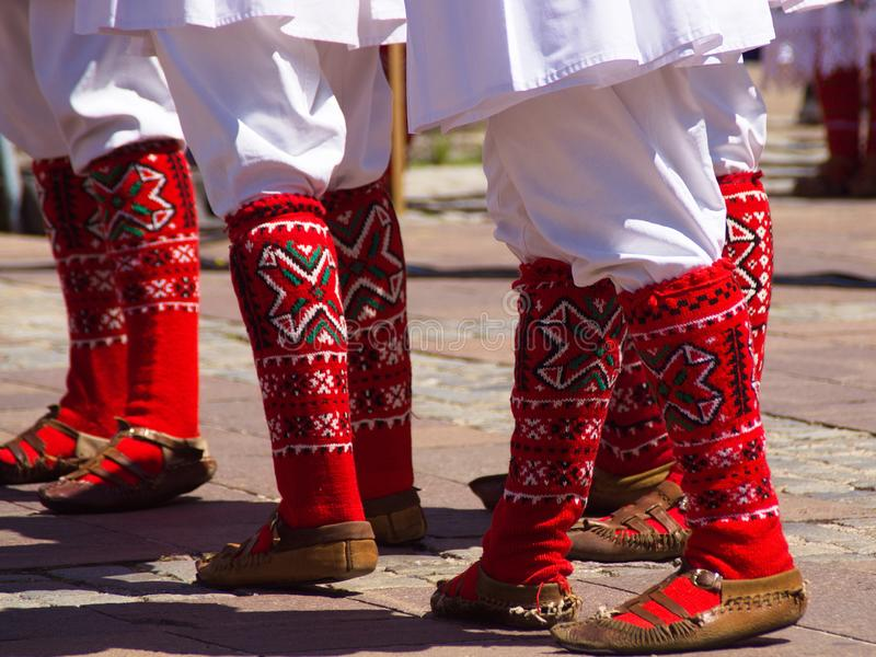 Festival Lent 2019, Maribor, Slovenia. Folkart, Festival Lent 2019, Maribor, Slovenia: red socks and opanki, part of macedonian folks costumes royalty free stock images