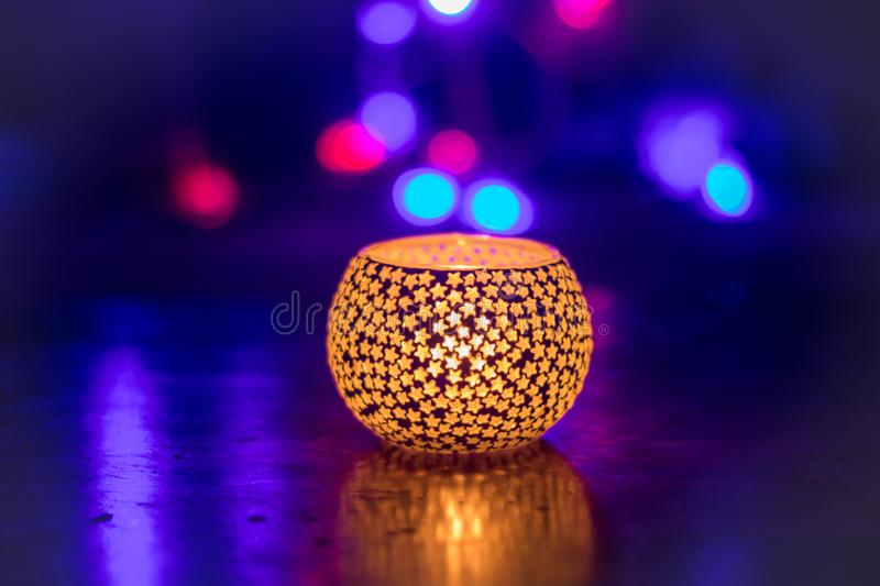 Festival of lights candle light diwali tealight holder. Hindu festival with awesome view stock photos