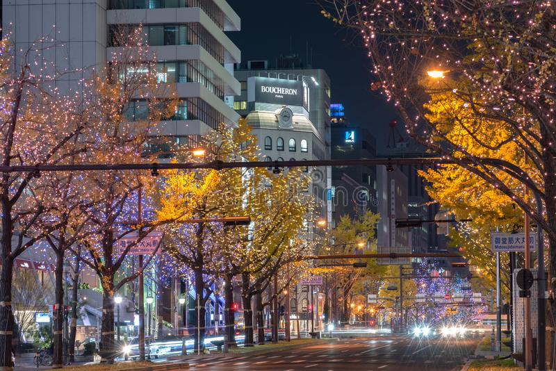 Festival of the Lights in Osaka. The winter illumination events, Midosuji Illumination and Hikari Renaissance royalty free stock photo