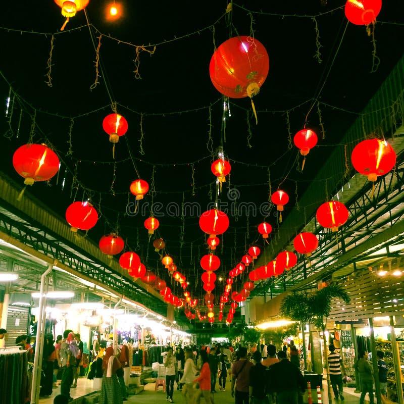 Festival lunaire - la nouvelle année de Chinois au marché Thaïlande de nuit de Kra de chanson, images libres de droits
