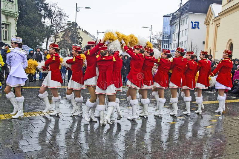 Festival of the majorettes on the street. ZRENJANIN, SERBIA, 12, JANUARY 2019; Street promotion of the majorettes from Herceg Novi, Montenegro and announcements stock image