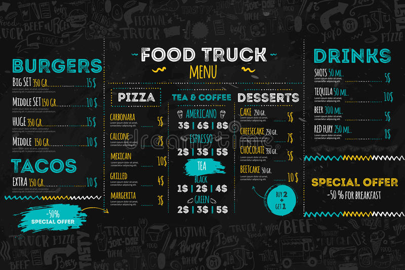 Festival-Menüschablone der ungesunden Fertigkost, Straßenrestaurant-Broschürenabdeckung Moderner LKW-Flieger mit von Hand gezeich stock abbildung