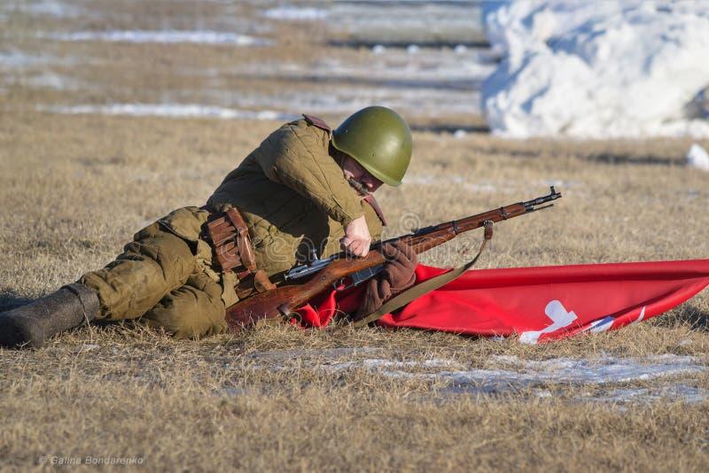 Festival of military history of Russia of XX century . Samara region, Togliatti, 5 January 2018. stock photo
