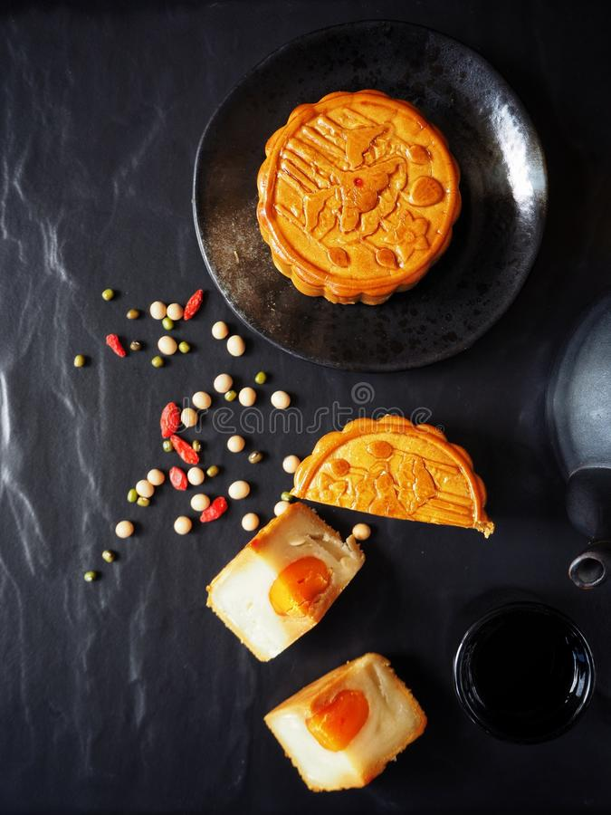 Festival moon cake with hot tea royalty free stock image