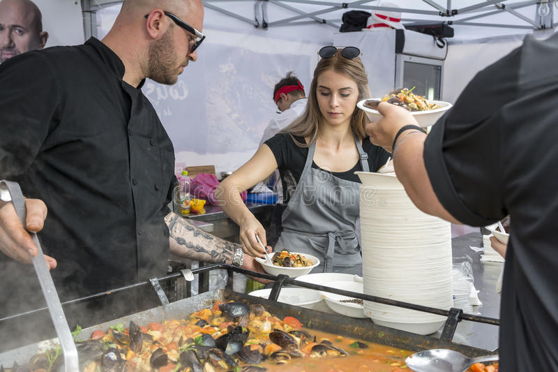 Festival mussels 2017. CONSTANTA, ROMANIA - MAY 20, 2017. Festival mussels 2017. Chefs cook mussels after a recipe of the famous Catalin Scarlatescu Chef ,on the royalty free stock photography