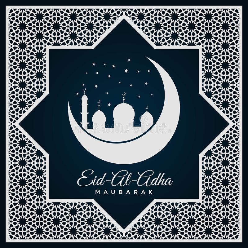 Festival musulmán de la etiqueta de Eid al-Adha del sacrificio libre illustration