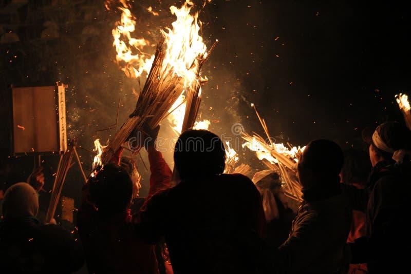 Festival Nozawa Onsen Japón del fuego foto de archivo libre de regalías