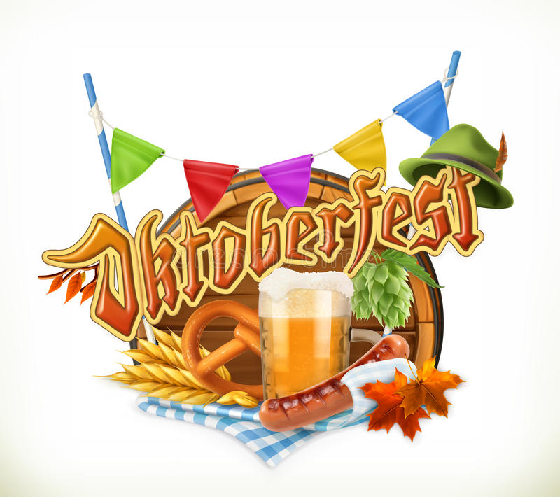 Festival Oktoberfest, vector de la cerveza de Munich Barril, pretzel, bebida, salto, grano, sa ilustración del vector