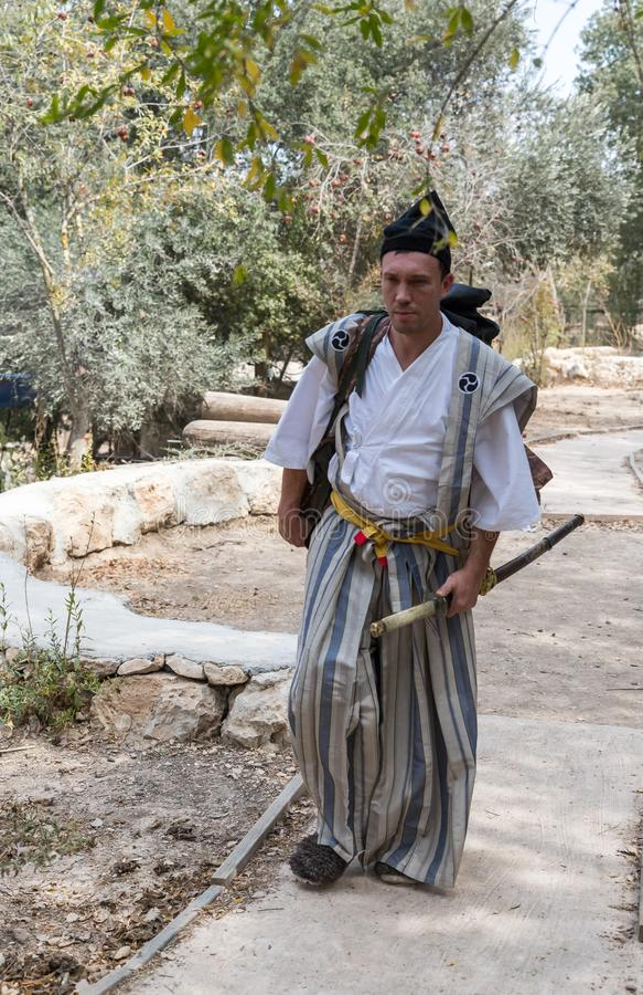 Festival participant in a traditional samurai costume at the annual festival `Jerusalem Knights`. Jerusalem, Israel, September 30, 2018 : Festival participant in stock photo
