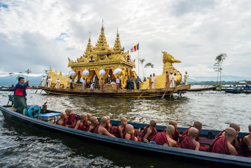 The festival of Phaung Daw Oo Pagoda at Inle Lake of Myanmar. stock photo