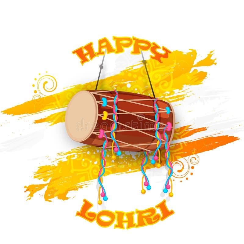 Festival punjabi, celebrazione felice di Lohri con il tamburo illustrazione vettoriale