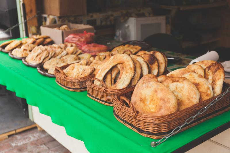 Festival of street food, shop with pastries.  royalty free stock photos