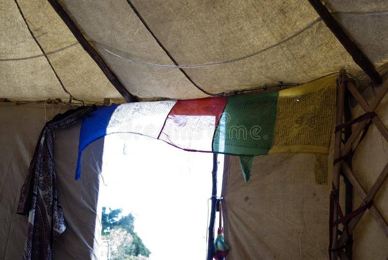 Festival Teepee Sacred Space. Inside the BHAV at a yoga festival stock photo