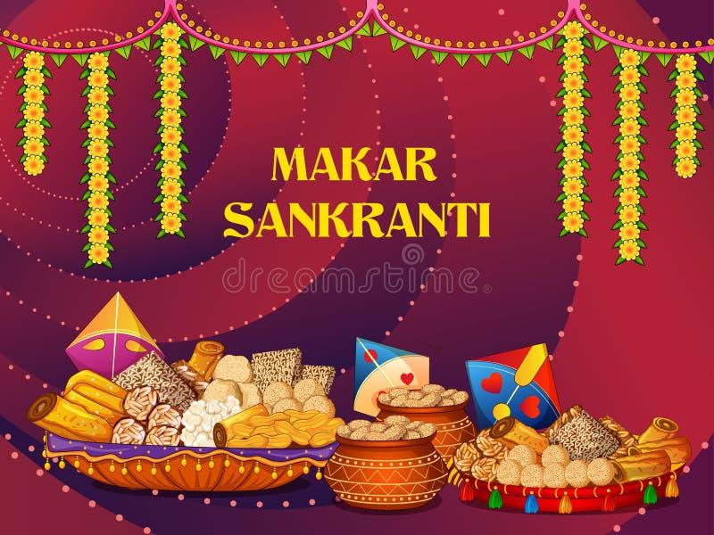 Festival traditionnel religieux heureux de Makar Sankranti de fond de célébration de l'Inde illustration de vecteur
