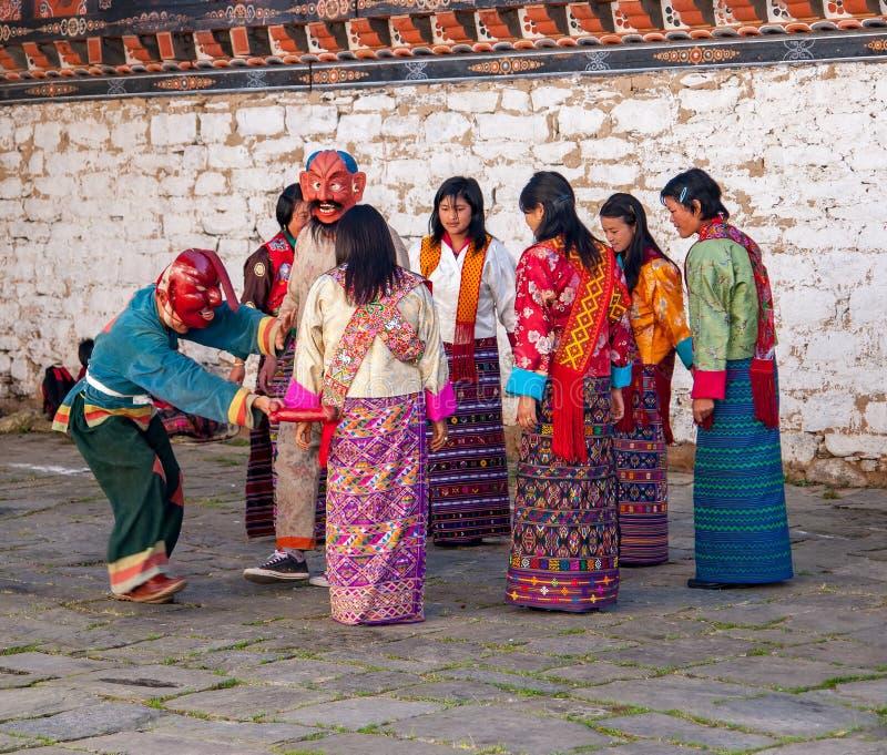 Festival tradizionale in Bumthang, Bhutan fotografie stock