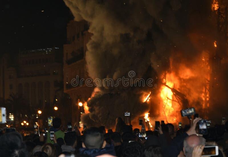 Festival van brand in Valencia stock fotografie