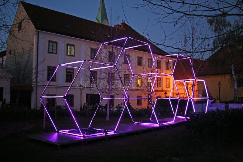 Festival van Lichten in Zagreb, Kroatië, Europa, details1 royalty-vrije stock foto