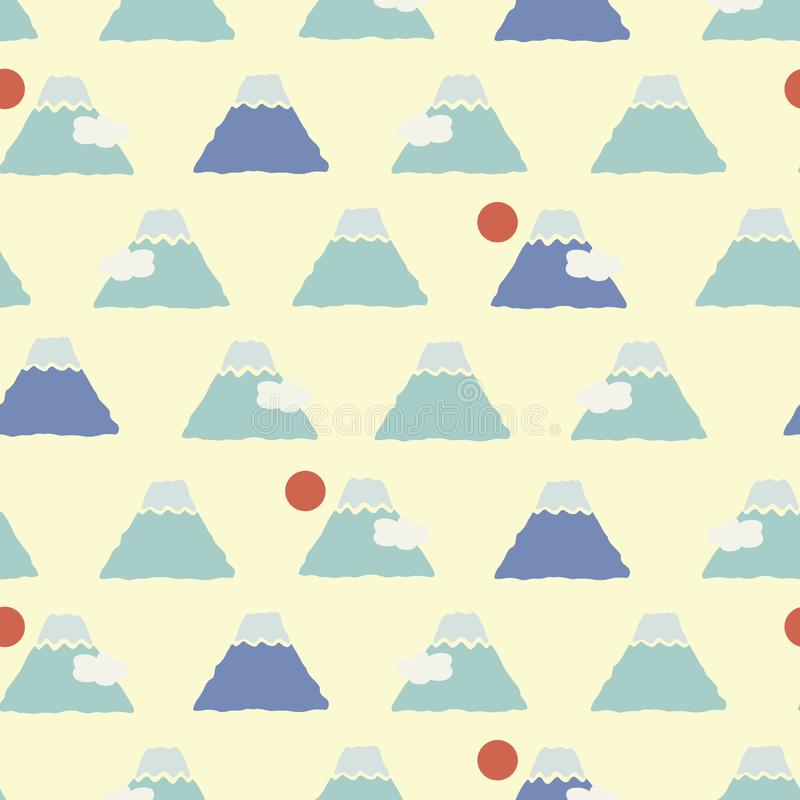 Japanese Cute Fuji Mount Pattern royalty free illustration