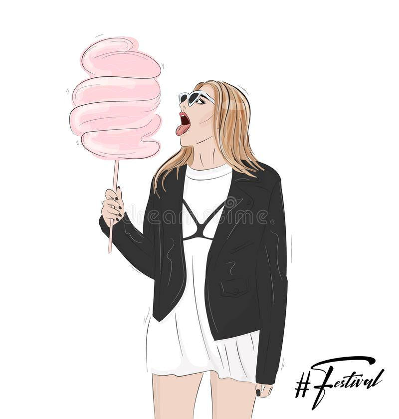 Festival woman fashion outfit. Cute girl holding cotton candy. Festive concert look , hand-drawn illustration. Modern sketch vector illustration